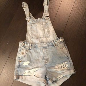 Divided H & M Light Wash Destroyed Overall Shorts